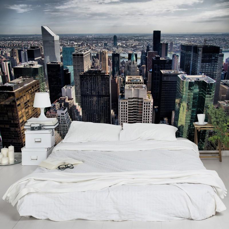 Az irodából kitekintve New York Manhattan látképe