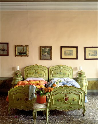 James Merrell bedroom peach walls green carved antique twin beds.jpg