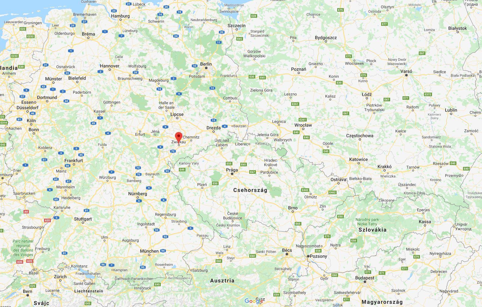 Zwickau Németországban, Magyarországhoz képest is jól láthatóan