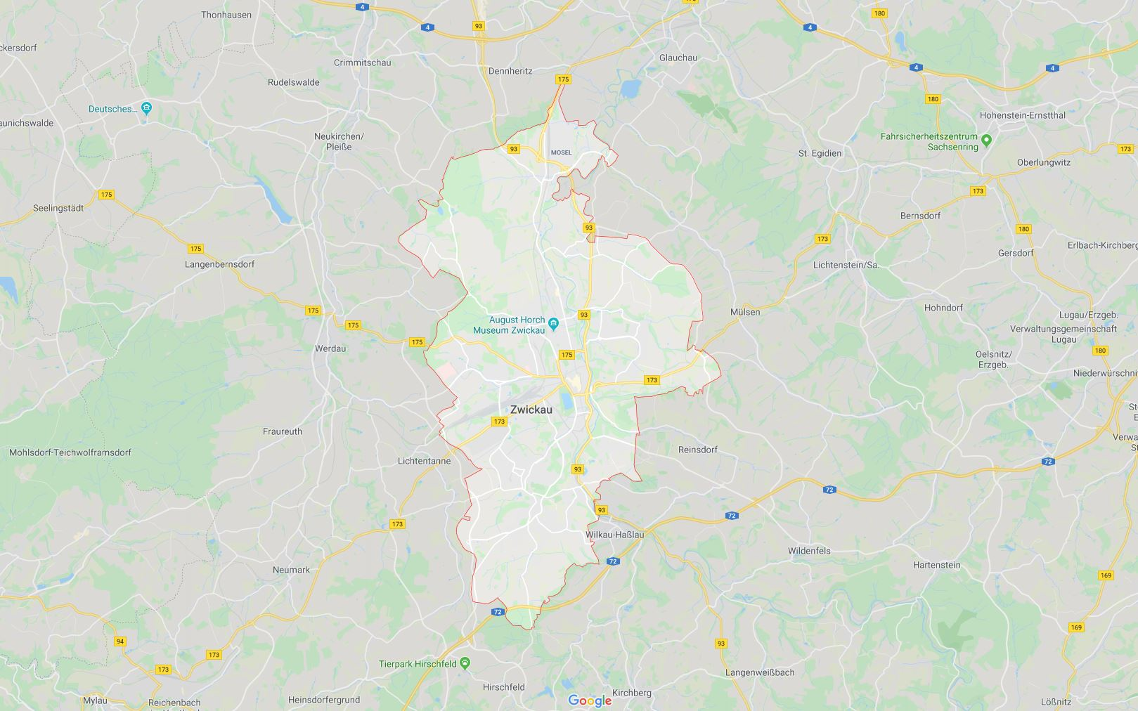 Zwickau városa a mai határaival