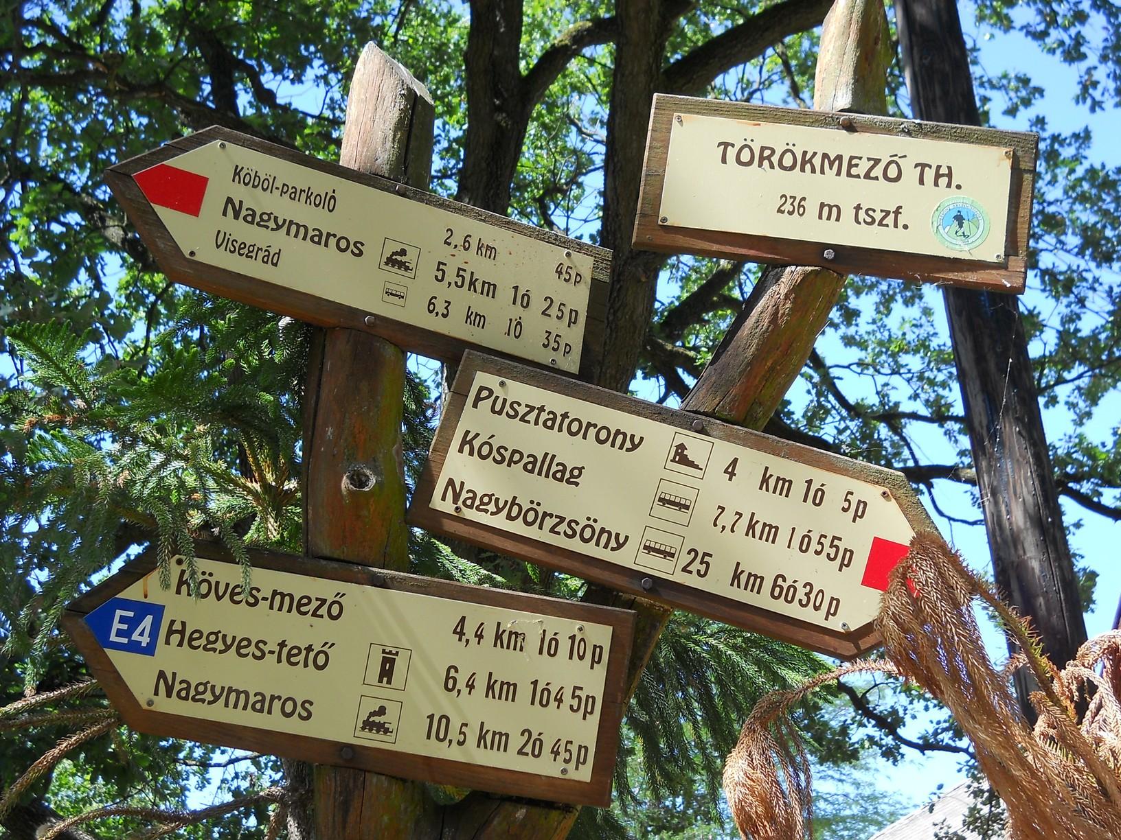 Útelágazás a törökmezői turistaháznál, amely OKT-pecsételőhely