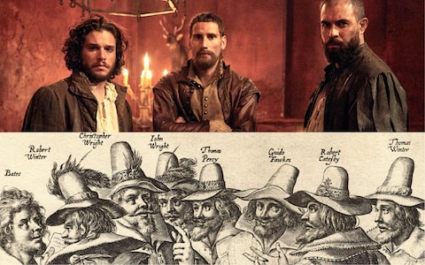 Catesby, Wintour és Fawkes, összeesküvők a sorozatban és a valóságban. Az itt látható képek a The Telegraph Who's who in Gunpowder: the real people behind the Guy Fawkes drama c. cikkéből származnak. (2017 okt.)
