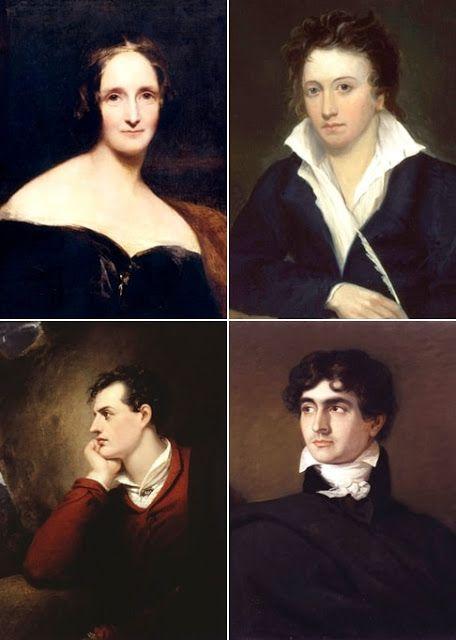 Mary Shelley, Percy Shelley, Lord Byron és John Polidori: egy közös utazásuk során született meg Maryben a Frankenstein ötlete.