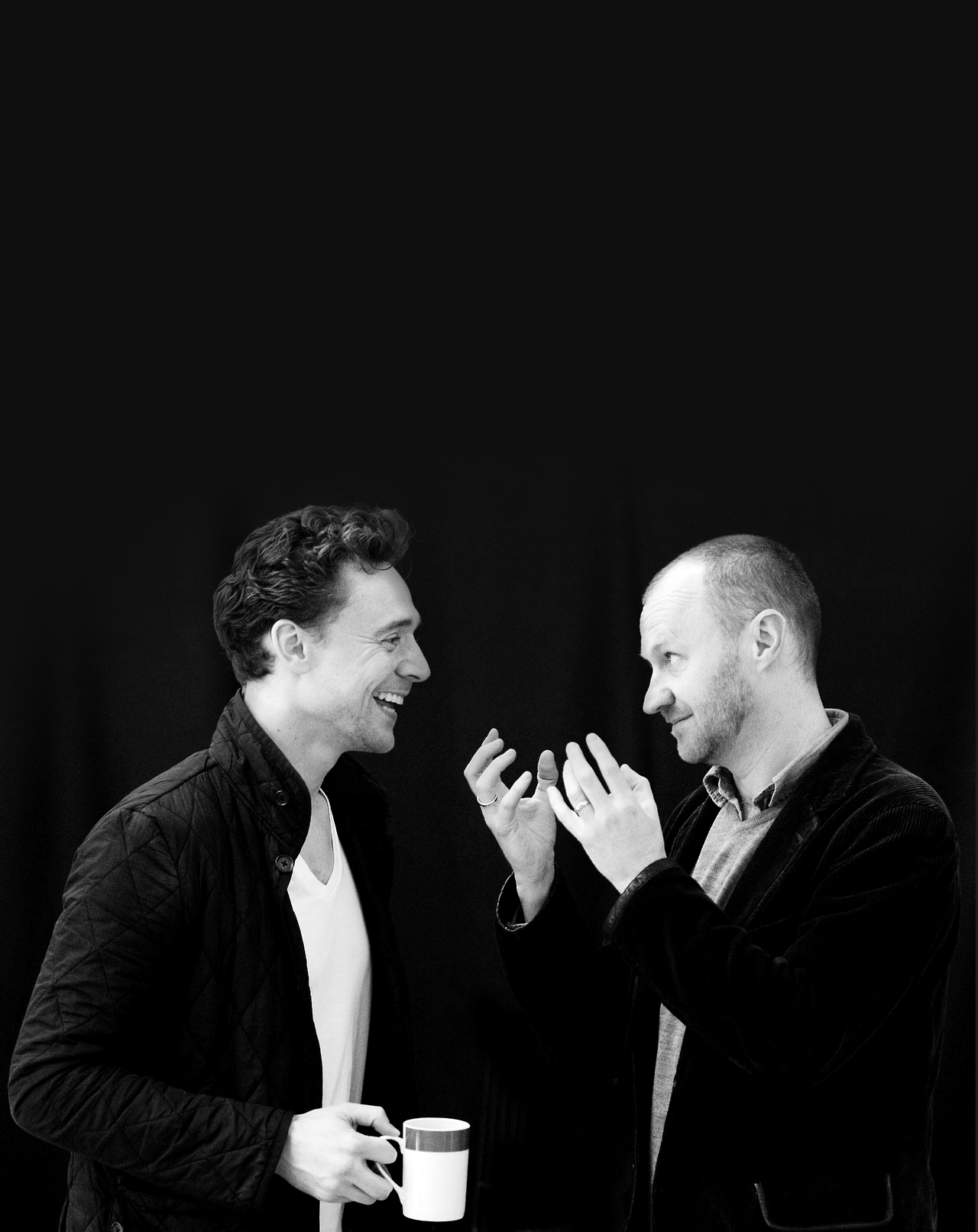 Mark Gatiss és Tom Hiddleston a Coriolanus próbáján.