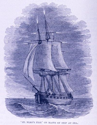 Szent Elmo tüze szikrázik egy hajó árbocán.