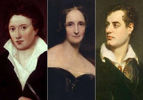 Percy Shelley, Mary Shelley és Lord Byron. Egy esős nyáron nem tudtak kimozdulni, így született a Frankenstein.