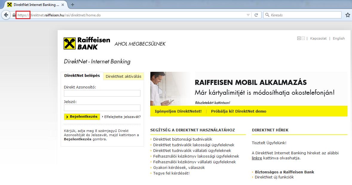 Titkosított elérés a Raiffeisen bank oldalán, a fontos dolgokat bal felül a piros keretben láthatjuk (https)