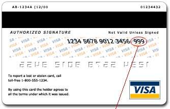 Egy bankkártya CCV kódja. Ez az a három jegyű kód amelyet meg kell adnunk vásárláskor