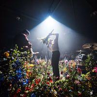 Virágözönbe fullad a színpadon az Iceage énekese
