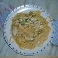 Csirkés tészta falatok zöldellő tejszínes mártásban