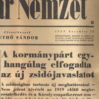 A kormány egyhangúlag elfogadta az új zsidójavaslatot - 1938. december 23. Magyar Nemzet