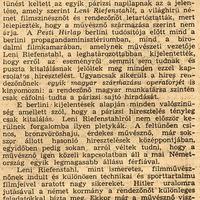 Cáfolják, hogy Leni Riefenstal nem árja! - Pesti Hírlap 1937 június 15.