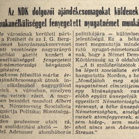 NDK segély az NSZK-nak - Népszabadság 1958. december 20.