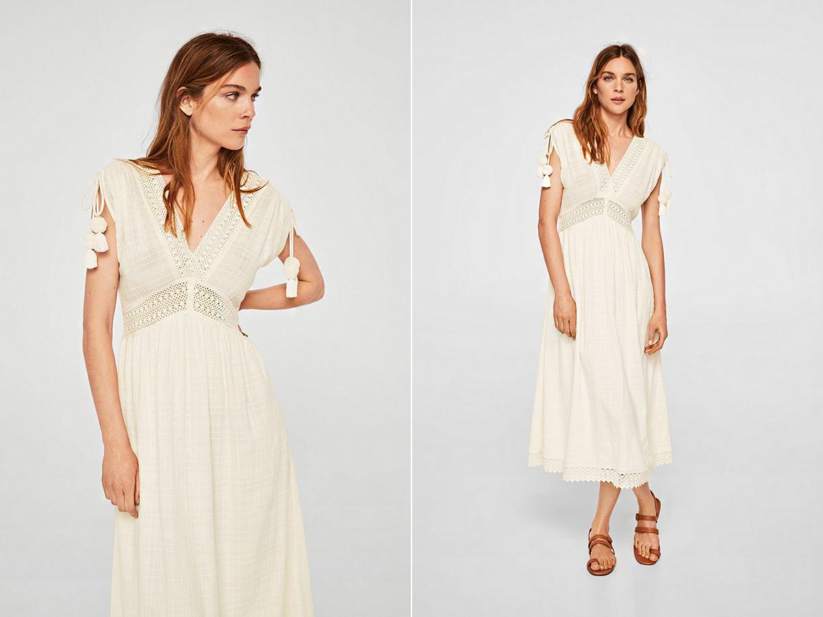 a4a4bbcd30 A Mango piszkos fehér, pomponos, horgolt ruhája csodásan passzol vízparti  és kerti esküvőkhöz.