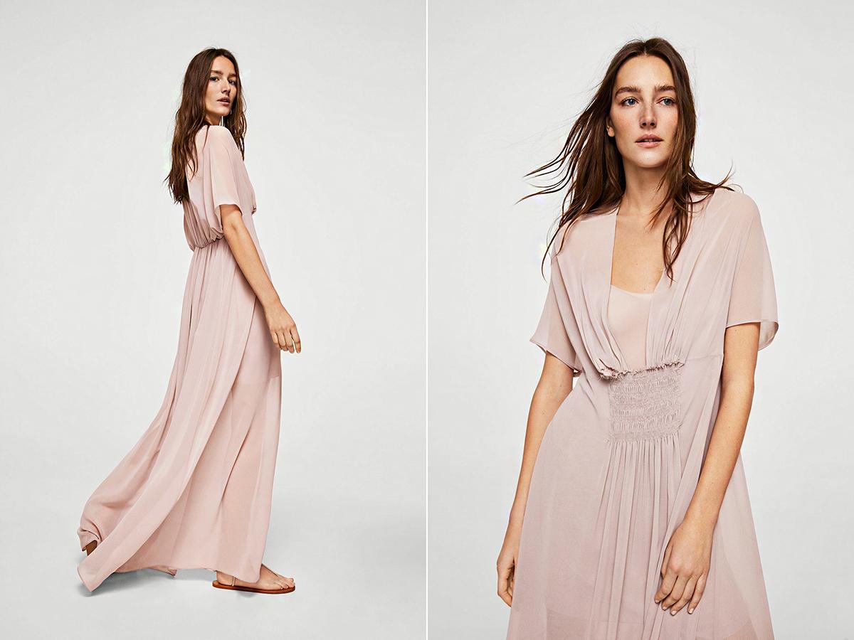 e33a557b2a A Mango pasztellrózsaszín, darázsderekú ruhája 23 995 forintba kerül.