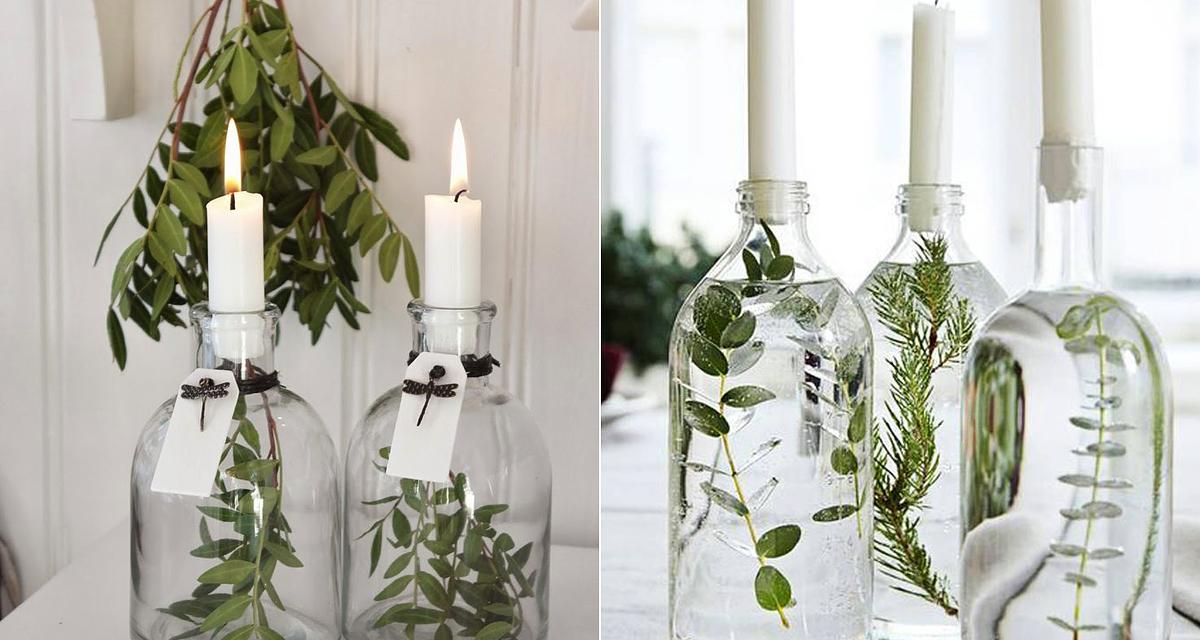 Egyszerű, elegáns asztali dekoráció téli esküvőre, virágok nélkül