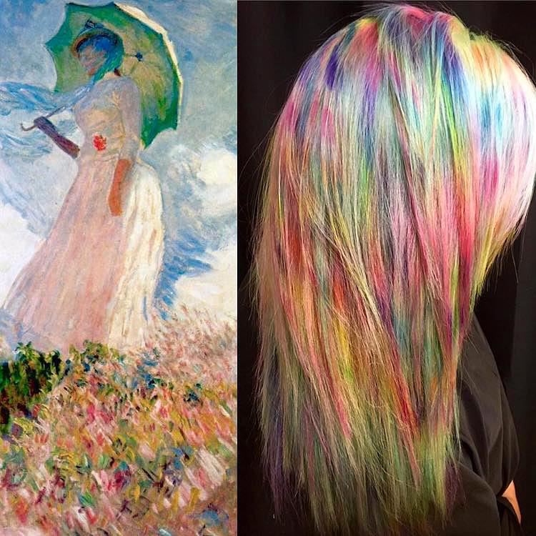 Claude Monet Nő esernyővel című festményének színharmóniája így néz ki a hajon.