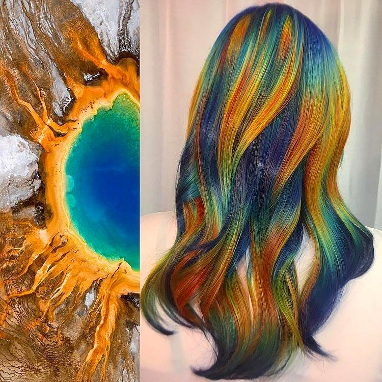 Ursula Goff szívesen merít ihletet a természet által felkínált színpalettából. Láttál már olyan hajszínt, amit a gejzírek és meleg források környékén keletkező színjelenségek inspiráltak?