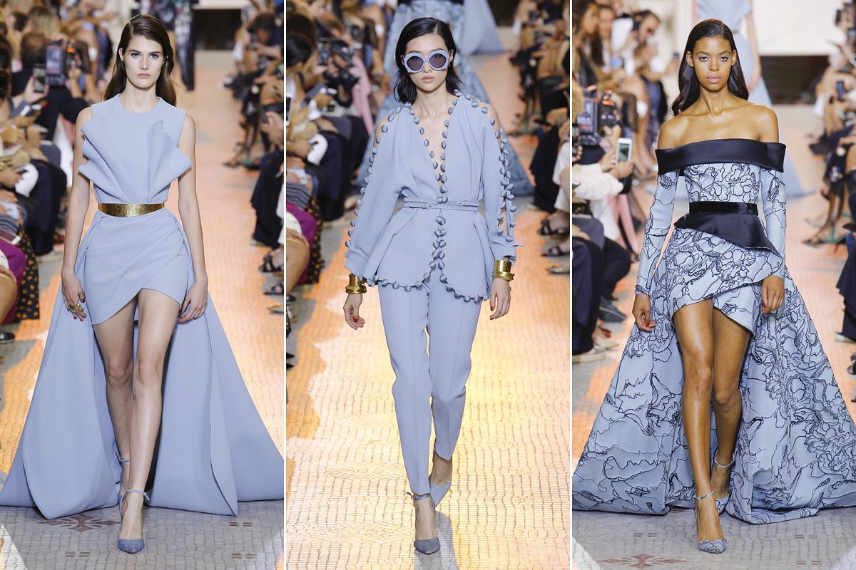 A kék szekció ruhái is bravúrosan ötvözik a kilencvenes évek divatelemeit a magas szintű eleganciával.