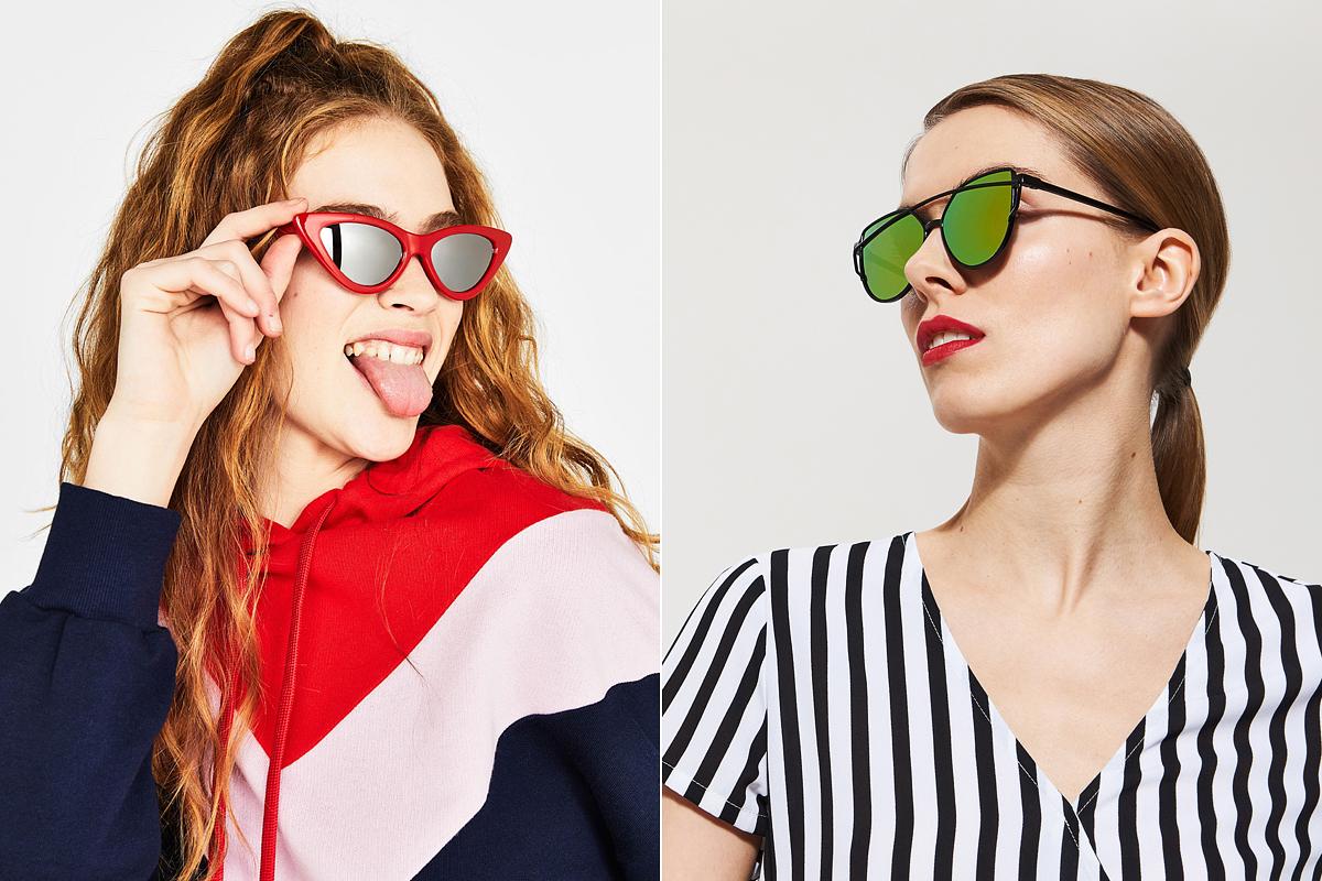 Retró szemüvegkeretek menő, tükrös és színes lencsékkel: a Bershka piros kreációja 2995 forintért, a House zöld lencsés napszemüvegje 1495 forintért kapható.