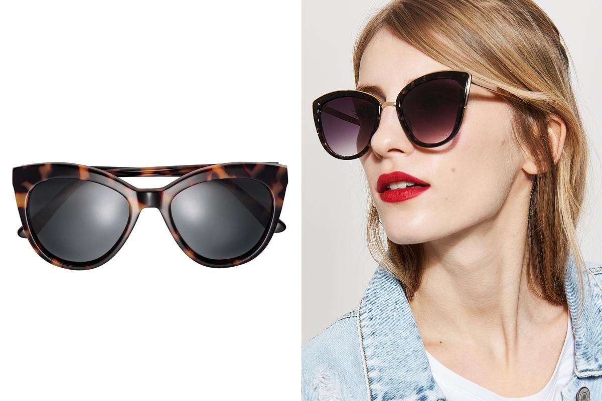 Túlméretezett, dívás szemüvegfazonok: a H&M polarizált napszemüvege 9990 forintba, a House cicás darabja 2495 forintba kerül.