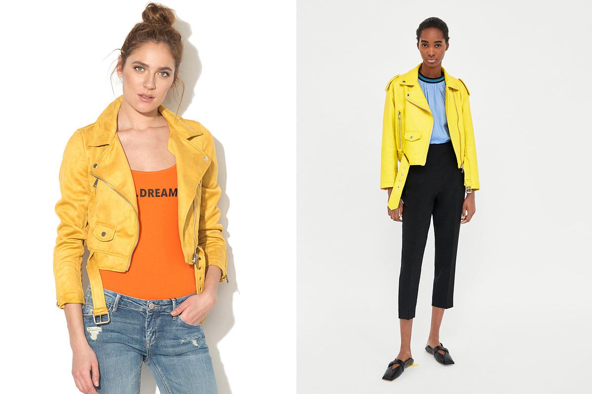 Dzsekik, élénk sárga színben: a Fashiondays.hu oldalán találhatsz rá a Tally Weijl rövid dzsekijére 14 990 forintért, a Zara kínálatából pedig ilyen vidám motoros fazont foghatsz ki magadnak 12 995 forintért.