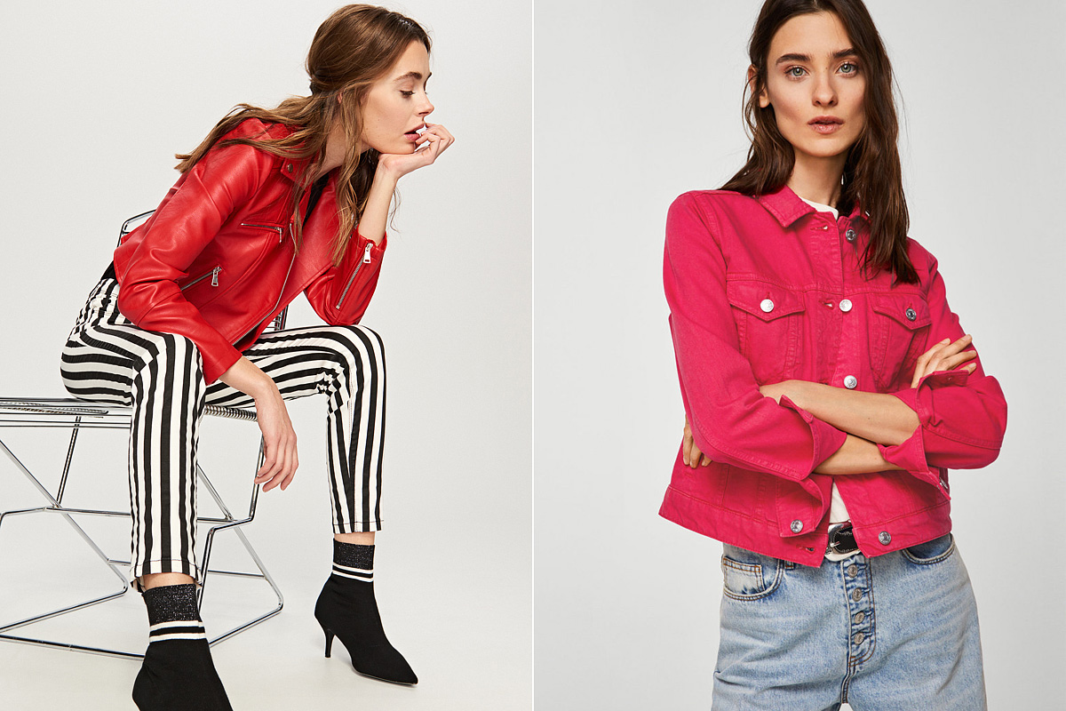 A vörös szín kedvelői 9995 forintért csaphatnak le a Reserved motoros dzsekijére, ám a fuksziaszíntől sem kell idegenkedni, mert nagyon jól mutat. A Fashiondays.hu oldaláról 9990 forintért rendelheted meg a Mango pinkes árnyalatú farmerdzsekijét.