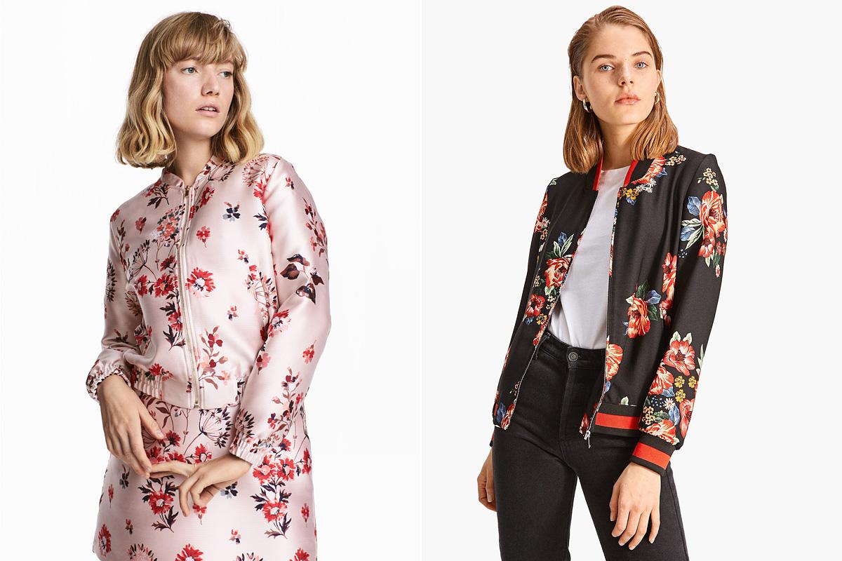 Virágos gyönyörűségek: a H&M jacquard szövésű kabátkája 12 990 forintért, a Stradivarius vékonyka bomberje 8595 forintért lehet a tiéd.