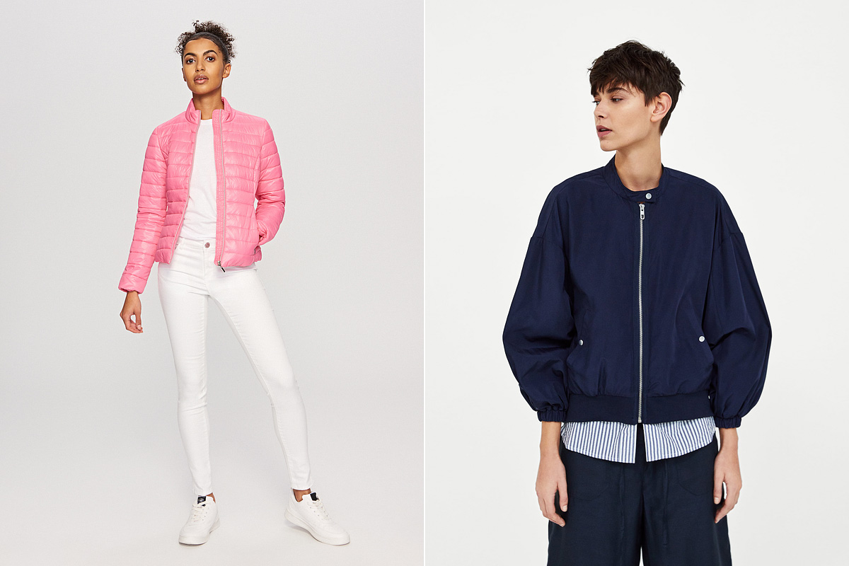 Melegebb dzsekik csajos színekben: a Reserved fagylaltszínű, steppelt kabátkája 7995 forintért, a Zara tengerészkék bomberdzsekije 9995 forintért kapható.