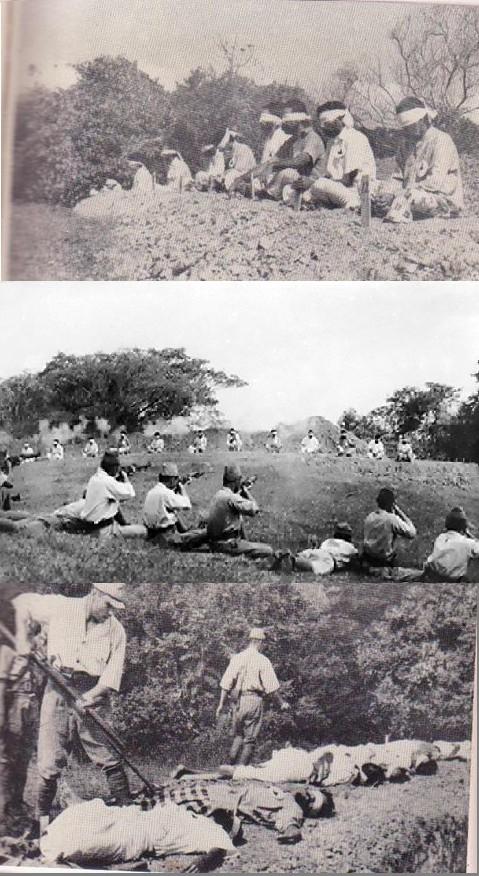 1942. Szingapúr bevétele után japán katonák indiai foglyokon gyakorolják a lövészetet. A túlélőket bajonettel halálra szúrkálták..jpg