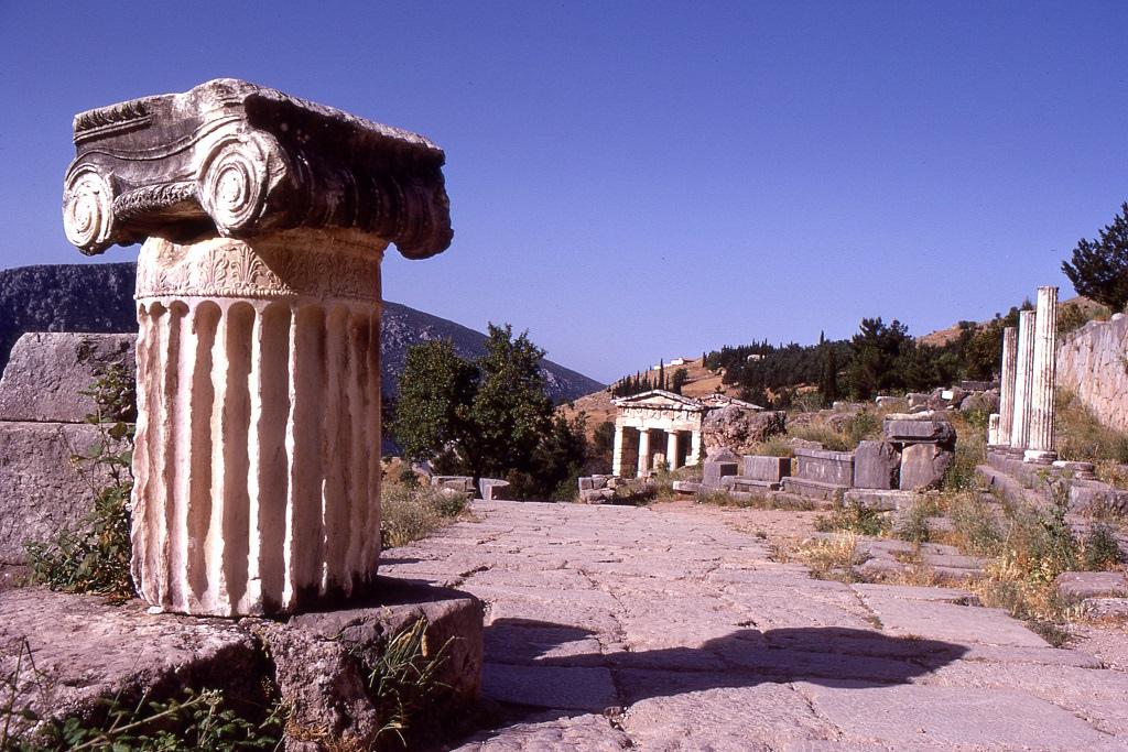 Az ókori Delphi romjai.