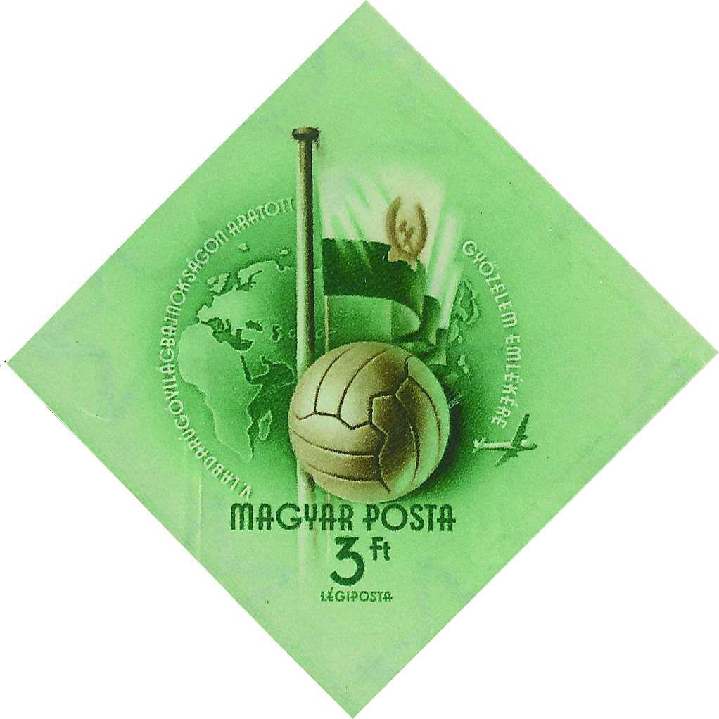 1954. Megtervezett, de soha ki nem adott bélyeg, a labdarúgó VB világbajnokság megnyerésének emlékére. A válogatottat az NSzK a döntőben legyőzte..jpg