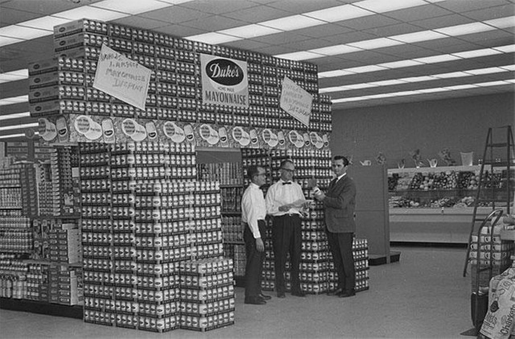 1965_duke_s_mayonnaise_jars_assembled_in_a_display_at_cozart_s_grocery_store_in_greenville_north_carolina.jpg