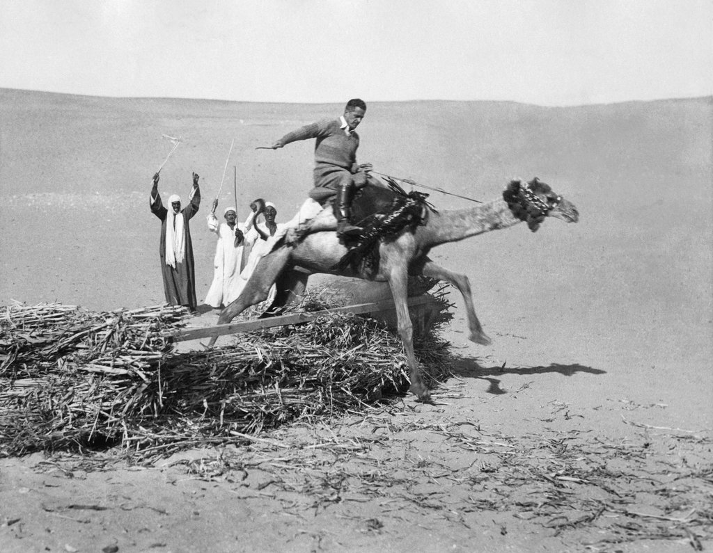 1935_a_british_major_rode_a_camel_over_obstacles_and_around_desert_sands_near_cairo_in_the_british-controlled_but_nominally_independent_egyptian_kingdom.jpg