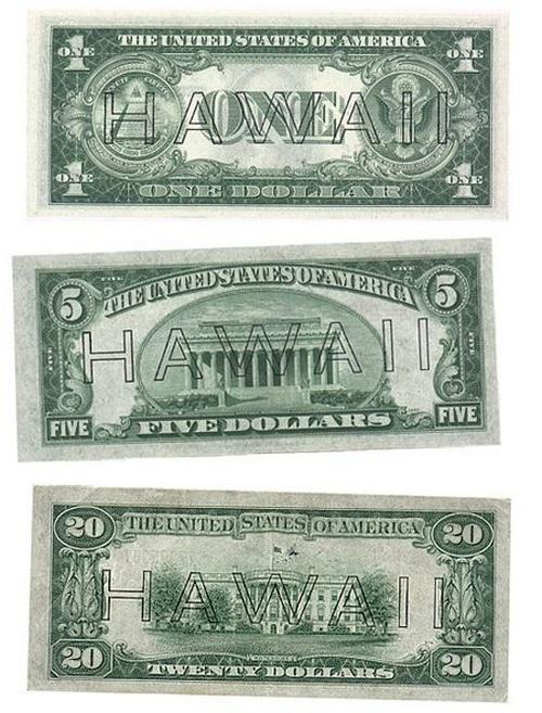 1942. Pearl Harbor után az Egyesült Államok attól való félelmében, hogy Japán lerohanja Hawaii-t és nagy mennyiségű dollárhoz jut, ezért felülnyomta a hawaii bankjegyeket..jpg