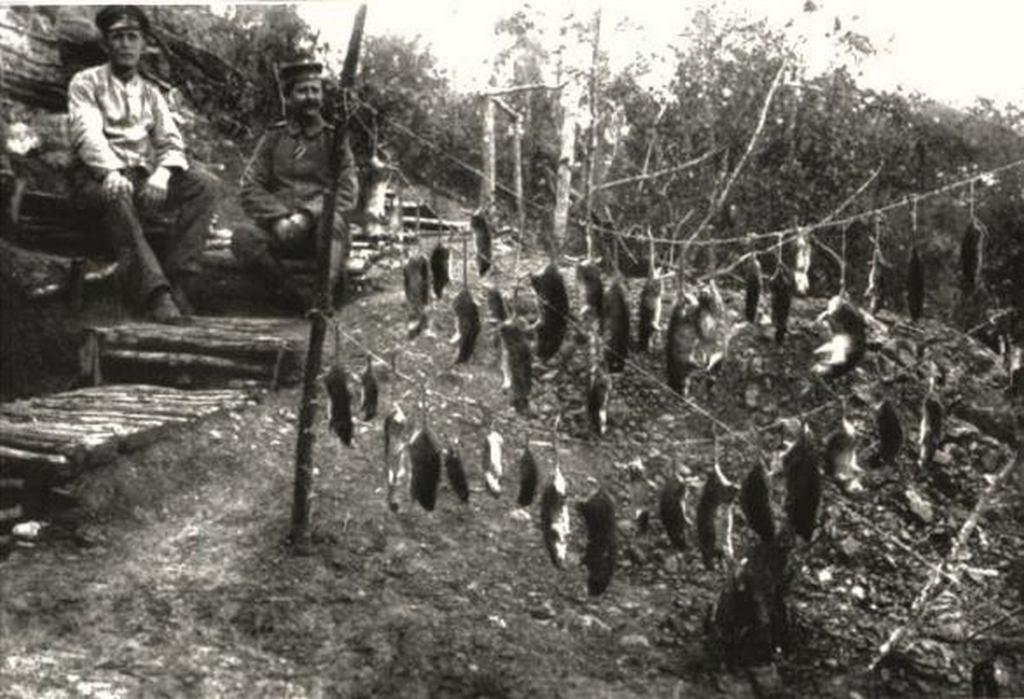 1917. körül. A lövészárkokban elejtett patkányokat is megették ha már hetek óta nem jött élelmiszerszállítmány..jpg