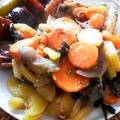 Római tálban sült zöldségek csirkecombokkal