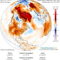 Holnap december, az Északi-sark vidékén meg nagyon-nagyon sok helyen 0 C fölött a hőmérséklet...