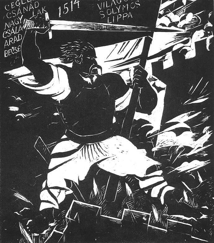 Derkovits Gyula_1928_Dózsa-sorozat_V. Dózsa a várfokon_497x440_fametszet.jpg