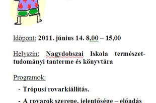 """Madarak és fák napja projekt """"Bogaras – nap""""   Nagydobszán"""