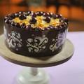 Feketeerdei csokimousse torta mintás csokiköpenyben