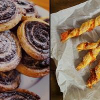 Mini marcipános kakaós csiga és baconos-sajtos csavart rúd