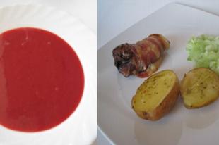 Gyors, nyári ebéd: Brandys-vörösboros szilvakrémleves, bacon-be göngyölt majorannás csirkemáj rozmaringos burgonyával és tejfölös uborkasalátával