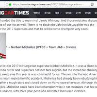 Michelisz a világ legjobb Túraautó versenyzője - TouringCarTimes Lista