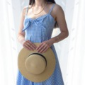 Blue checked dress outfit