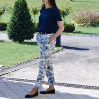 Blue patterned pants outfit