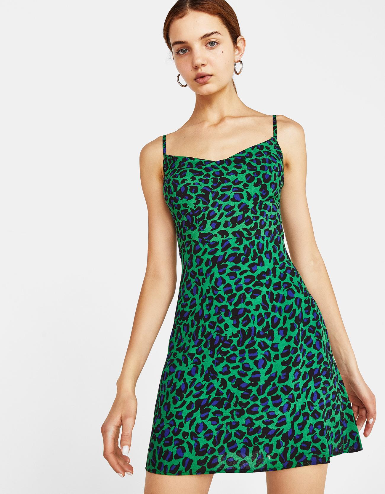 H M - 5990 Ft. kek-zold leopardmintas ruha bershka.jpg ece0140e8e
