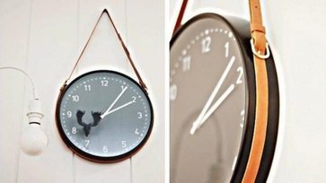 IKEA hack ötletek: falióra bőrövvel
