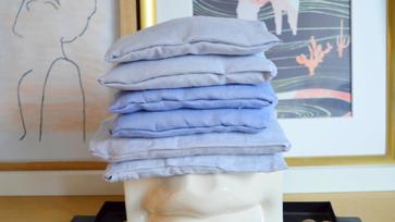 Varrás nélküli levendulás tasakok régi ingekből