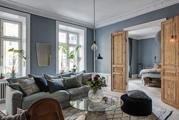 Klasszikus skandináv otthon kék falakkal